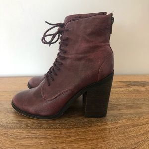Shoemint Erin Lace Up Booties in Wine Size 8
